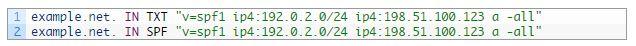 Nom de domaine DNS enregistrement SPF