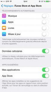 iTunes iPhones données cellulaires