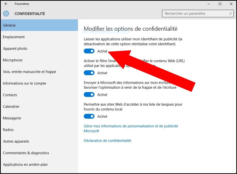 Identifiant de publicité Windows 10 Microsoft Expert-ComIdentifiant de publicité Windows 10 Microsoft Expert-Com