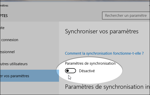 Synchronisation Windows 10 Expert-Com