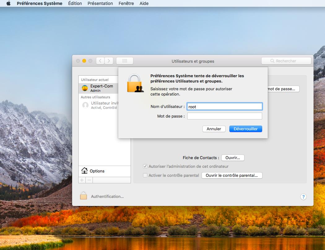 MacOS High Sierra faille sécurité root