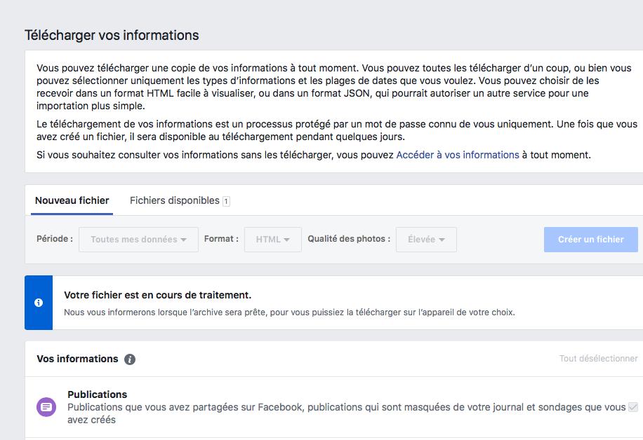 Facebook : télécharger vos archives