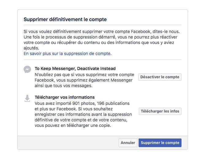 Facebook : supprimer votre compte